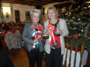 Trish and Janice showing their winnings at awards evening 2015